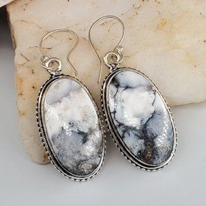 Natural Dolomite Stone Silver Earrings